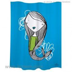 """Laroom - Cortina baño """"sirena"""" azul polyester - Laroom diseña los productos para Baño más bonitos del mundo - www.laroom.com (producto diseñado y fabricado por Laroom con ilustración de anna llenas)"""