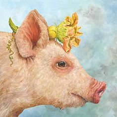 Charming and fanciful image of a pig by artist Vicki Sawyer. Printed on luxury paper napkins. Package of 20 Napkins x folded, x open Strong soft paper Printed in Germany Decorative Paper Napkins, Paper Napkins For Decoupage, Wedding Cocktail Napkins, Pig Art, Beverage Napkins, Whimsical Art, Vintage Flowers, Pet Birds, Animal Pictures
