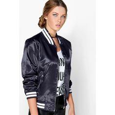 Boohoo Sofia Satin Varsity MA1 Bomber Jacket ($35) ❤ liked on Polyvore featuring outerwear, jackets, navy, navy blue puffer jacket, puffer jacket, navy blue jacket, flight jacket and bomber jacket