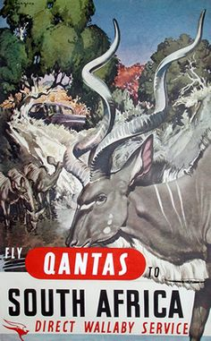 Burrage poster: Fly Qantas to South Africa - Direct Wallaby Service