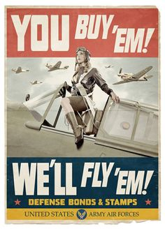 Pin-up in U.S. Army Air Forces poster portraying Women Airforce Service Pilots (WASP) Help Us Salute Our Veterans by supporting their businesses at www.