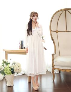 Lace Sweet Long Vestidos Nightgown Princess dress Royal pijama $45.73 => Save up to 60% and Free Shipping => Order Now! #fashion #woman #shop #diy http://www.homeclothes.net/product/lace-sweet-long-vestidos-nightgown-princess-dress-royal-pijama