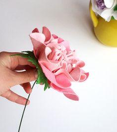 Felt peony flower single stem  Rose Peony Love flower by mellsva