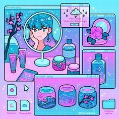 """Emily Kim on Instagram: """"Galaxy skincare 🌙✨ (tap for sound! Music is sunny side cutie by fcj) I hope it's not too late to post this 😂 skincare has been a source of…"""" Aesthetic Drawing, Aesthetic Anime, Aesthetic Art, Aesthetic Videos, Arte Do Kawaii, Kawaii Art, Cute Cartoon Wallpapers, Animes Wallpapers, Cartoon Kunst"""