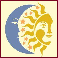 estrellas luna sol, stencil estrellas, la luna, la plantilla media luna, el sol plantilla stencil