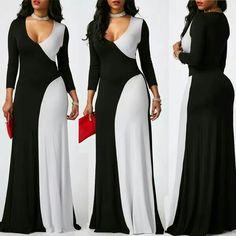 Material: Polyester Silhouette: A-Line Dress Length: Floor-Length Sleeve Length: Nine Points Sleeve Neckline: V-Neck Closure:. White Fashion, Love Fashion, Plus Size Fashion, Womens Fashion, Beautiful Dresses, Nice Dresses, Dress Skirt, Dress Up, Dress To Impress