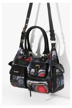 DESIGUAL Chandy Londra Shoulder Bag a Tracolla Borsa Marron Marrone Rosso Nuovo