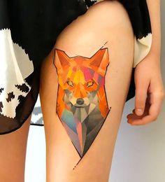 Fox Cabeza sobre Idea del tatuaje del muslo