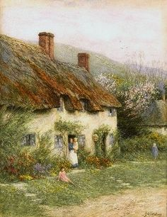 Mother and Child Outside a Country Cottage ~ Helen Allingham ~ (English: 1848-1926)