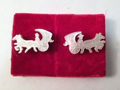 Men's Cufflinks Horse and Carriage Carved by GretelsTreasures