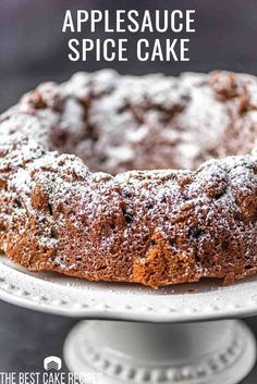 An easy spice cake loaded with raisins and nuts. Applesauce Bundt Cake stays moist, fresh and flavorful with unsweetened applesauce. Applesauce Bundt Cake Recipe, Applesauce Spice Cake, Homemade Applesauce, Apple Dessert Recipes, Best Cake Recipes, Easy Desserts, Favorite Recipes, Old Fashioned Cake Recipe, Angel Food Cake Pan