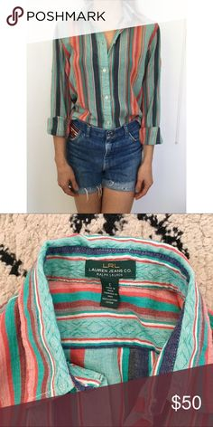 Ralph Lauren Aztec Tribal Button Down Shirt SZ S Ralph Lauren Aztec Tribal Collard Shirt  Button Down. SIze Small. Super Soft top. Worn only a few times. Free People for style. Free People Tops Button Down Shirts