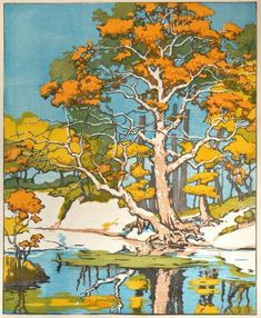 """Old Sycamore"" color block print by Norma Bassett Hall, 1942."
