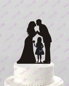 Wedding Cake Topper Silhouette Groom and Bride with flower Girl -  Family Acrylic Cake Topper [CT62og]