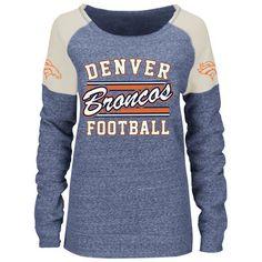 Women's Majestic Navy Denver Broncos Scramble Sport Crew Fleece ...