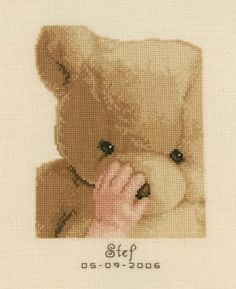 My First Teddy Birth Sampler Kit from Vervaco £20.75 - Past Impressions FREE UK DELIVERY