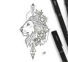Leo zodiac sign inspired, girly design tattoo by Melissa Mancini. Leo Zodiac Tattoos, Leo Tattoos, Black Tattoos, Body Art Tattoos, Tattos, Zodiac Signs Animals, Zodiac Signs Leo, Zodiac Art, Leo Sign Tattoo