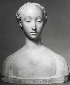 """Giovanni Bastianini - copy of bust by Mino Bastiani became infamous as the world's first well-known forger of art. In the 19th century he sculpted busts in the style of Renaissance greats, aged them artificially and waited for them to be """"discovered."""" He would have stayed anonymous for a long time, as nobody ever had any notion that the pieces were not genuine, but his partner in crime eventually gave him up when he became resentful of his poor cut of the takings."""