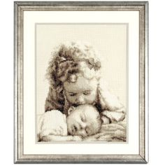 """Sister Love  BIG SISTER'S KISS, soft and loving, is captured in this poignant counted cross stitch. Kit includes 14-count ecru Aida cloth, presorted DMC cotton floss, needle, chart and directions. 8"""" x 10 1/2"""" without mat and frame. Imported from Belgium. A Stitchery exclusive!      ****   Sister Love  Item #: T24023  Price: $36.99"""
