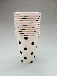 Polka Dot Party Cups - White/Black