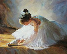 Ballerina Girl Checking Her Shoes Original Oil Painting on Canvas Ballet Dancer Art 20x24 #OilPaintingPeople