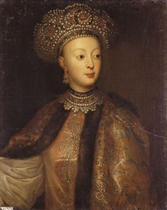 Sophia Alexeievna, daughter of Tsar Alexei I, half-sister, and mortal enemy, to Peter I.  Extremely unusual for a Russian lady in being well-educated, and a public person (indeed regent), she met her match in Peter.  Confined in her last years to a convent.