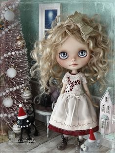 Blythe doll OOAK outfit *Delicate flower*  embroidered pure silk vintage style dress by marina, $68.00 USD