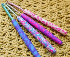 """Here's another great inspiration from the """"Petals to Picots"""" blog; polymer clay crochet handles - this could also be a great personalized gift to give to your favorite crocheter :)"""