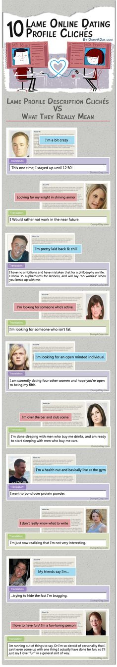 dating profile cliches If you want more than a sleazy proposition, your online dating profile needs more than a cute bathroom selfie try these four simple tricks for starters.