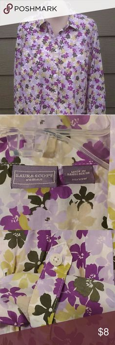 Laura Scott button down 100% cotton shirt Various shades of green and purple flowers on this long-sleeved, button down, 100%cotton shirt. Has a tab with button so that you can also wear it with sleeves rolled up. Laura Scott Tops Button Down Shirts