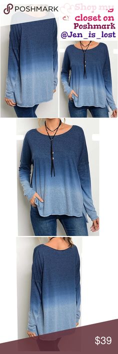 Round Neck Long Sleeve Washed Top Round Neck Long Sleeve Washed Top Loose fit.  Color Indigo Gray Fabric Content: 70% Polyester, 30% Cotton Tops Tunics