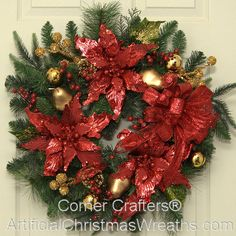 christmas elegance wreath - Poinsettia Christmas Decorations