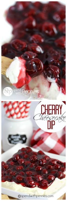 Easy Cherry Cheesecake Dip recipe! This is so good and can be served with fruit, graham crackers, even cookies! This takes just minutes to prepare!