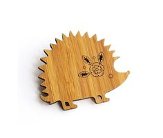 Hedgehog Brooch, Bamboo Brooch, Christmas Gift, Christmas Stocking Present, Laser Cut by the Owl & Otter