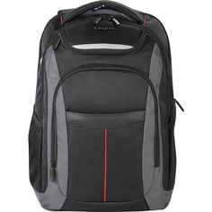 Carry all you need and more with the Black/Gray with Red Stripe Targus Gravity Laptop Backpack.