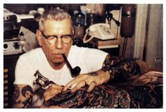 "If you don't know who Sailor Jerry is– you don't know tattoos. Norman ""Sailor Jerry"" Collins is considered the foremost American tattoo artist of his time, and defined the craft in tw… Tattoo Old School, Norman, Maritime Tattoo, Sailor Jerry Tattoos, Tattoo Master, Tatuagem Old School, Tattoo Now, Tattoo Life, American Tattoos"