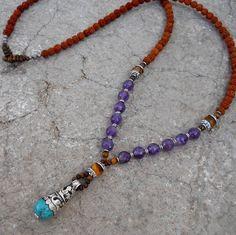 108 bead necklace, rudraksha, amethyst and turquoise Tibetan pendant