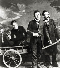 Lou Salomé with Paul Ree & Friedrich Nietzsche, in a (super-awkward) Victorian scene.
