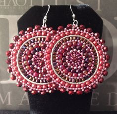 Wine Berries Seed Beaded Earrings  Big Bold by WorkofHeart on Etsy, $45.00
