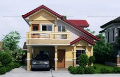 two storey house with balcony front perspective Home Roof Design, Balcony Design, Small House Design, Home Design Plans, Modern House Design, Modern Houses, Plan Design, 4 Bedroom House Plans, Dream House Plans