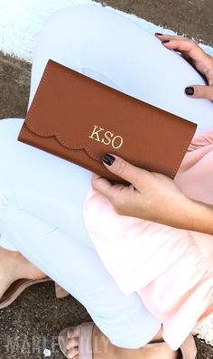 Genuine Leather Monogrammed Scalloped Wallet from Marleylilly.com