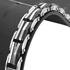 Impressive Black n Silver Stainless Steel Railway Link Bracelet | RnBJewellery