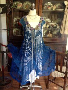 Crochet Dress by Luv Lucy Lucy's Royal Blue by LuvLucyArtToWear, $295.00