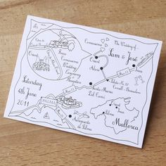 wedding or party map one colour postcard by cute maps   notonthehighstreet.com
