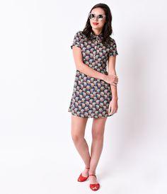 Retro Style Navy & White Dot Cherries Short Sleeve Flare Dress
