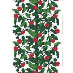 This new fabric is the apple of our eye. Marimekko Onnen Omenapuu Red/Green Fabric