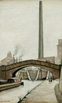 Canal Bridge, Ashton Canal, Fairfield, Greater Manchester, United Kingdom, 1944, by LS Lowry.