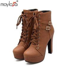 31.36$  Watch here - http://aliu95.shopchina.info/go.php?t=32779713390 - 2016 Autumn Winter Women Ankle Boots high heels lace up leather double buckle platform short booties new black  #buyonline