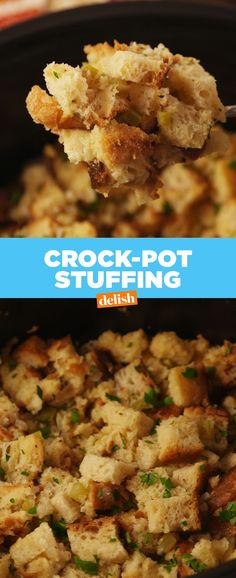 Crock-Pot Stuffing Crock-Pot Stuffing- Save Oven Space And Make This Insanely Good recipe by Delish Crock Pot Slow Cooker, Crock Pot Cooking, Slow Cooker Recipes, Crockpot Recipes, Cooking Recipes, Crockpot Dishes, Oven Recipes, Cooking Ideas, Healthy Cooking