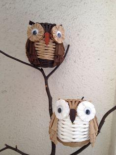 Cute Eco Craft Owl Basket Handmade as stationary by MidoriCrafts